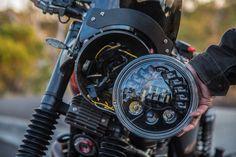 Speaker Model 8790 Adaptive Low Beam LED Headlight: fits easily into any standard headlight bucket in a installation. Here shown on a 2008 Triumph Bonneville. Custom Bmw, Custom Harleys, Custom Bikes, Led Motorcycle Headlight, Bobber Motorcycle, Motorcycle Parts, Moto Cafe, Cafe Bike, Aftermarket Headlights