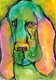 """Bloodhound"" Watercolor ATC by Bonnie Tincup"