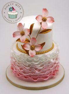 Pink Dogwood Ruffle Cake