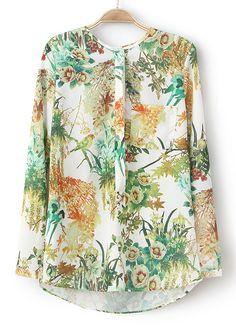 Green Long Sleeve Bird Floral Print Blouse - Sheinside.com