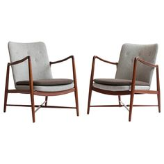 Pair of Finn Juhl 'Fireplace Chairs' for Bovirke | From a unique collection of antique and modern lounge chairs at https://www.1stdibs.com/furniture/seating/lounge-chairs/