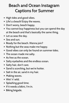 Discover recipes, home ideas, style inspiration and other ideas to try. Summer Captions, Witty Instagram Captions, Instagram Picture Quotes, Instagram Captions For Selfies, Selfie Captions, Instagram Funny, Beach Photo Captions, Ocean Captions, Summer Quotes Instagram