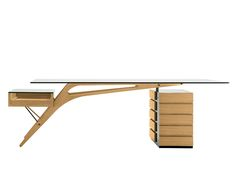 WRITING DESK WITH DRAWERS CAVOUR BY ZANOTTA | DESIGN CARLO MOLLINO