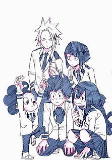 Kaminari Denki, Jirou Kyouka, Mineta Minoru, Midoriya Izuku, and Asui Tsuyu