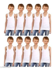 Innerwear Doodle Classy Cotton Kid's Boy's Vests (Pack Of 10)  Fabric: Cotton Sleeves: Sleeves Are Not Included Size: Age Group (4 - 5 Years) - 23 in Age Group (5 - 6 Years) - 24 in Age Group (6 - 7 Years) - 25 in Age Group (7 - 8 Years) - 26 in Age Group (8 - 9 Years) - 27 in Color: White Type: Stitched Description: It Has 10 Pieces Of Kid's Boy's Vests Pattern: Solid Country of Origin: India Sizes Available: 0-6 Months, 3-6 Months, 6-9 Months, 6-12 Months, 9-12 Months, 12-18 Months, 18-24 Months, 0-1 Years, 1-2 Years, 2-3 Years, 4-5 Years, 5-6 Years, 6-7 Years, 7-8 Years, 8-9 Years   Catalog Rating: ★4 (218)  Catalog Name: Doodle Classy Cotton Kid's Boy's Vests Combo Vol 1 CatalogID_613809 C59-SC1187 Code: 773-4284227-339