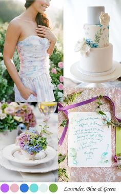 Lavender, Green & Blue Wedding Palette