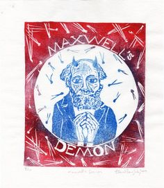 Maxwell's Demon  1st Edition Linocut by minouette on Etsy, $30.00