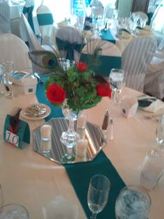 Short centerpieces and DIY table numbers