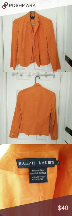 Ralph Lauren Corduroy Blazer Fully lined and in near perfect condition. I've only worn this beautiful jacket once.  There's a slight, basically unnoticeable, watermark on one sleeve as shown. Ralph Lauren Jackets & Coats Blazers