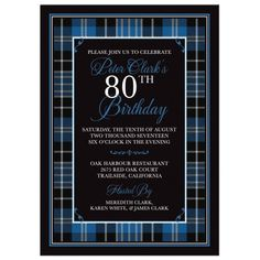 The tartan depicted here is the modern Clark clan (sept) tartan. Why not reconnect with your Scottish roots with a Scot tartan plaid birthday theme. This is a great choice for a man's birthday, but coul Fun Party Themes, Theme Ideas, Birthday Party Themes, Party Ideas, 80th Birthday Invitations, Baby Invitations, Engagement Party Themes, Bat Mitzvah Party, Scottish Clans