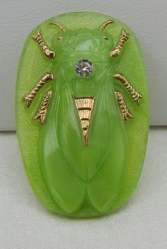 Cicada Czech Glass Button.