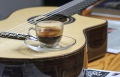 Espresso on an acoustic guitar!  #Music #Coffee