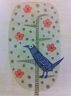 (Japan) Bird by Keiko Minami (1911- 2004). Etching in colors. Japan.