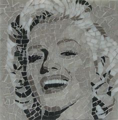 | Marilyn Monroe Mosaic | Finished at last!  Vitreous glass on acrylic, 8 inch square.