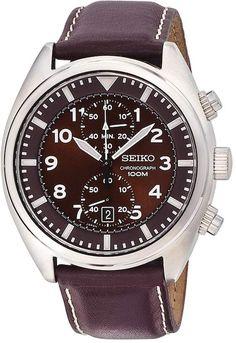b76b669f3b7 Seiko Men s Leather Chronograph Watch - SNN241