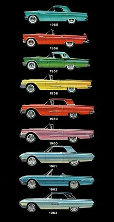 This sequence of the evolving design of the Ford Thunderbird is a great example of the powerful influence automotive design had on my artistic development.