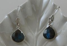 Labradorite Tear Drop Earrings with by OnlyOneJewelryDesign