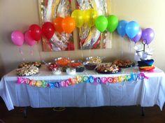 Rainbow party food table #rainbow #party