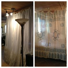"""Turned 3 crinkle curtains & 2 scarfs from World Market into an adult fort!! Or """"bed canopy"""". :) $1 bamboo sticks to hang curtains, fabric scraps to hang bamboo, used gold thumb tacks to secure in ceiling panels. Took 15 min.!"""