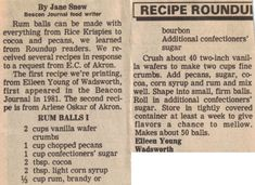Rum Balls - this is the recipe I use (walnuts or pecans - half rum, half bourbon) Love old newspaper clipping recipes! Retro Recipes, Old Recipes, Vintage Recipes, Candy Recipes, Holiday Recipes, Great Recipes, Cooking Recipes, Favorite Recipes, Christmas Recipes