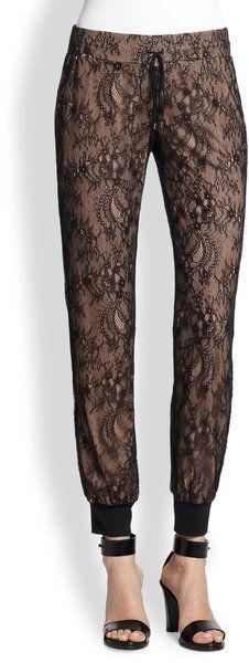 Haute Hippie Black Lace Modal Sweatpants #sleepwear #loungewear