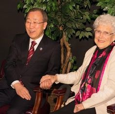 "In this photo, Secretary-General Ban Ki-moon holds hands with Ms Libba Patterson who was his ""host mother"" during his first trip away from his home country of South Korea half a century ago. They were reunited during his trip to California last Thursday."