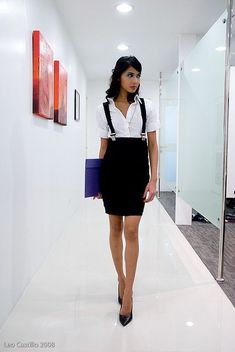 ← how to wear suspenders for women Black high waisted pencil skirt with suspenders is absolutely feminine and sexy way to focus on men's