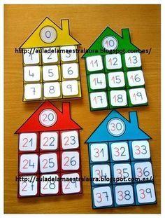 Hoy os muestro más material ABN: CASITAS DE LAS FAMILIAS En clase trabajamos la tabla del 100 con ayuda del proyector y la p... Montessori Math, Preschool Learning Activities, Kindergarten Math, Teaching Math, Preschool Activities, Kids Learning, 1st Grade Math, Math For Kids, Math Resources
