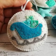 New from Blue Christmas series. Father Christmas Sleigh ornament New from Blue Christmas series. Blue Christmas, Christmas Sewing, Handmade Christmas, Father Christmas, Felt Christmas Decorations, Christmas Ornament Crafts, Felt Ornaments, Beaded Ornaments, Christmas Sleighs