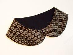 Col Claudine mini tissu japonais vagues noir et or taille S : Echarpe, foulard, cravate par sabcreations