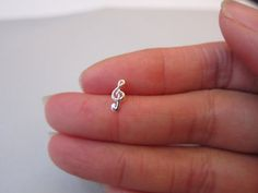 Sterling Silver Music note Cartilage Earring, Music Note stud earring,Tiny stud Earring, silver cartilage, cross earring, one stud, multiple on Etsy, $11.00