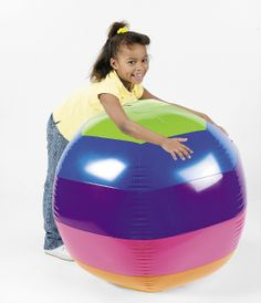 Inflatable Giant Rainbow Beach Ball | Wally's Party Supply Store