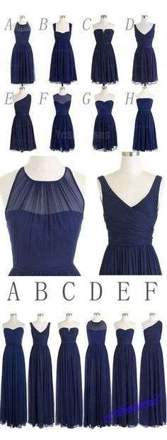 Short long mismatched navy bridesmaid dresses from http://athenabridal.storenvy.com/collections/1364184-long-bridesmaid-dress/products/17322243-navy-blue-bridesmaid-dresses-long-bridesmaid-dresses-mismatched-bridesmaid