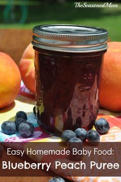 Easy Homemade Baby Food Blueberry Peach Puree: his simple puree is the perfect healthy summer meal for your little one, or grown-ups can enjoy the sauce stirred into yogurt or on top of pancakes, waffles, toast, or ice cream!