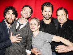 Darren Criss, Neil Patrick Harris, John Cameron Mitchell, Andrew Rannells and Michael C. Hall (every 'Hedwig' of this revival) celebrate Lena Hall's last performance at 'Hedwig and The Angry Inch' on Broadway. John Cameron Mitchell, David Burtka, Michael C Hall, Andrew Rannells, Neil Patrick Harris, Broadway Plays, The Great White, Hedwig, Darren Criss