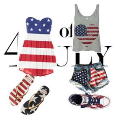 """""""no name"""" by tia-your-love ❤ liked on Polyvore featuring Levi's, Converse, Havaianas, redwhiteandblue and july4th"""