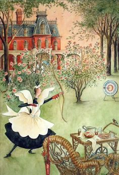 Mary Petty: The Life and Art of Mary Petty. On view July 22nd-October 8th, 2016. Pensacola Museum of Art, Pensacola, Florida www.pensacolamuseum.org  Mary Petty was the creator of the Peabody family featured on over 40 of covers for The New Yorker Magazine. Credit: Mary Petty, Fay Trying Archery, The New Yorker Magazine, July 15, 1950, cover illustration, 1950, watercolor and ink on paper, image courtesy of the Syracuse University Art Collection.