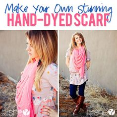 DIY Stunning Hand Dyed Scarf! If you're like me and wear scarves all year 'round...this is a great way to switch them up!