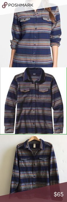 """🎉Patagonia Women's Fjord Flannel Shirt🎉 Patagonia Fjord button down flannel shirt in gaucho stripe.  100% organic cotton.  So soft.  No holes or stains.  Minimal signs of wear.  Chest is 43"""" and length is 27"""".  In excellent condition. Patagonia Tops Button Down Shirts"""