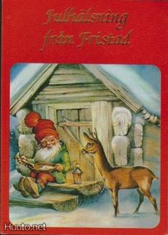 Lars Carlsson Gnome and Roe Deer Sweden David The Gnome, Baumgarten, Legends And Myths, Elves And Fairies, Holiday Postcards, Christmas Illustration, Vintage Christmas Cards, Vintage Posters, Cute Pictures