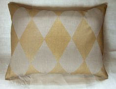 Metallic Gold on Warm Gray Harlequin hand printed linen home decor lumbar pillow case. $40.00, via Etsy.