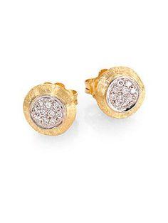 Marco Bicego Delicati Diamond, 18K Yellow & White Gold Stud Earrings -