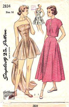 SIMPLICITY 2834 - FROM 1949 - UNCUT - MISSES BATHING SUIT, SKIRT & BOLERO
