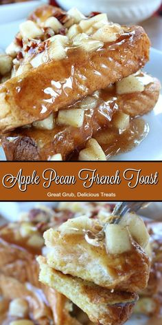 Pecan French Toast Apple Pecan French Toast is stuffed with apple chunks and pecans between thick slices of french toast.Apple Pecan French Toast is stuffed with apple chunks and pecans between thick slices of french toast. Brunch Recipes, Breakfast Recipes, Dessert Recipes, Breakfast Ideas, Desserts, Easy Recipes, Toast Hawaii, Toast Pizza, French Toast Bake