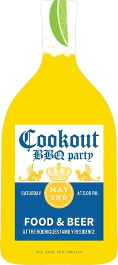 Cold Yellow Beer Bottle BBQ Invitation