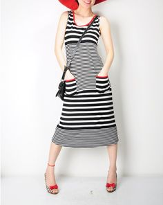 Red Black White Striped Cotton Jersey Pockets Long by yystudio. Love the shoes too!