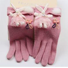 Autumn Winter Women Gloves Touch Screen Gloves Cashmere Wool Mittens Wrist Warmer Female Pink Cartoon Glvoes Luvas Feminina