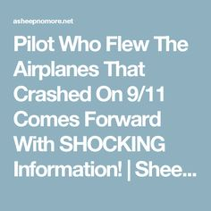 Pilot Who Flew The Airplanes That Crashed On 9/11 Comes Forward With SHOCKING Information! | Sheep Media