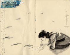 Fragmentos de una Cotidianidad II. Salió a rastrear sus huellas en el eco de las palabras y con tanto azul arriba y abajo se convirtió en luceropájaro Para Susan Urich by  Erika Kuhn