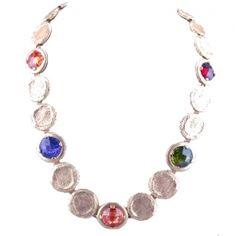 Gold & Multi-Colored Quartz Coin Necklace  Price: $180.00